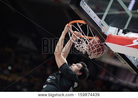 VALENCIA, SPAIN - DECEMBER 3: Borja Mendia during spanish league match between Valencia Basket and Bilbao Basket at Fonteta Stadium on December 3, 2016 in Valencia, Spain