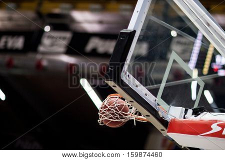 VALENCIA, SPAIN - DECEMBER 3: Spanish league match between Valencia Basket and Bilbao Basket at Fonteta Stadium on December 3, 2016 in Valencia, Spain