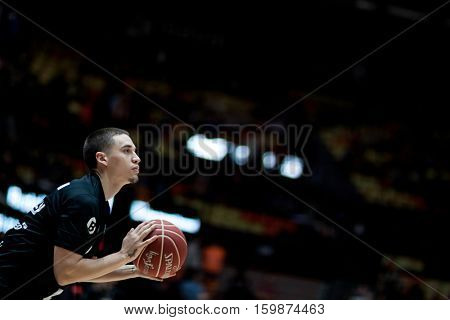 VALENCIA, SPAIN - DECEMBER 3: Scott Bamforth during spanish league match between Valencia Basket and Bilbao Basket at Fonteta Stadium on December 3, 2016 in Valencia, Spain
