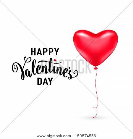 Vector illustration of red heart balloon with lettering text sign happy valentines day isolated on white background. Valentines card template for holiday greeting