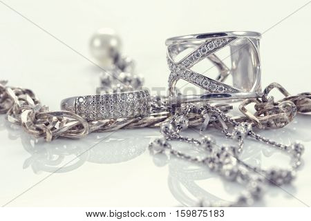 Silver Ring With Precious Stones And Fine Silver Chain