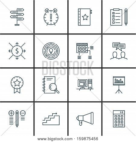 Set Of 16 Project Management Icons. Can Be Used For Web, Mobile, UI And Infographic Design. Includes Elements Such As Goal, Win, Task And More.