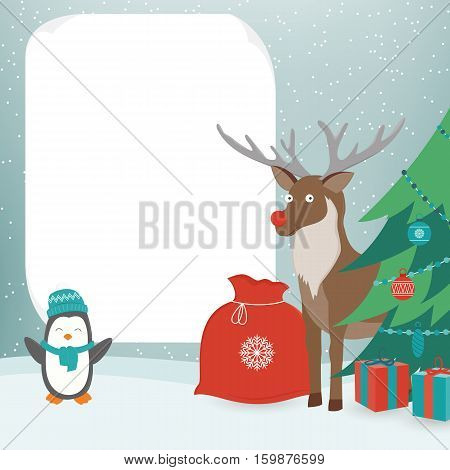 Christmas Card with Christmas Characters. Template with copy space. Vector illustration