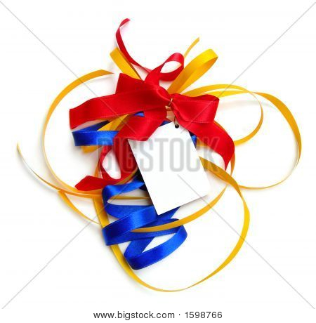 Colorful Particolored Present Ribbons, Card, Isolated.