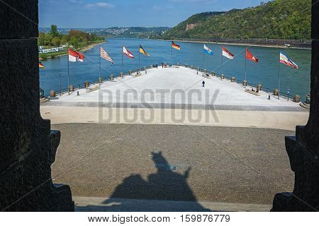 Koblenz, Germany, April 22, 2015: Deutsches Eck German Corner is the name of a headland in Koblenz where the Moselle joins the Rhine.