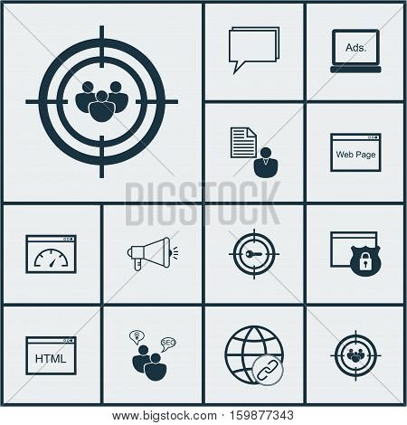 Set Of 12 Advertising Icons. Can Be Used For Web, Mobile, UI And Infographic Design. Includes Elements Such As Research, Focus, Web And More.