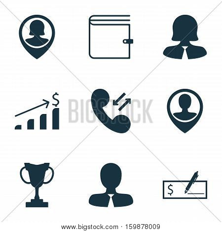 Set Of 9 Hr Icons. Can Be Used For Web, Mobile, UI And Infographic Design. Includes Elements Such As Money, Dollar, Cellular And More.