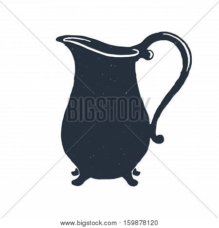 Creamer. Milk. Kitchen. Hand drawn vintage pitcher. Sketch style. Vector illustration. Isolated on white background