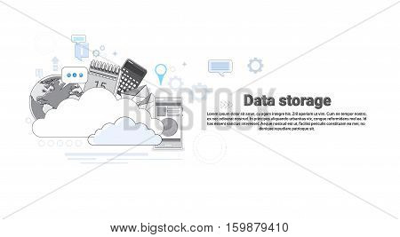 Cloud Computing Database Storage Services Web Technology Banner Vector Illustration