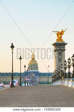 Les Invalides building in Paris ar sunrise