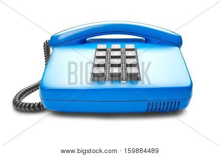 landline blue phone on a isolated white background with shadow