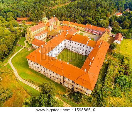 Aerial view of Benedictine monastery in Kladruby founded in 1115. Was renovated, construction was terminated at the 17th Century. It is amazing example of Baroque architecture in Czech Republic.