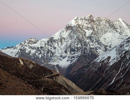 Himalayas mountains after sunset, Nepal
