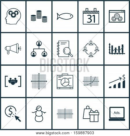 Set Of 20 Universal Editable Icons. Can Be Used For Web, Mobile And App Design. Includes Elements Such As PPC, Questionnaire, Tree Structure And More.