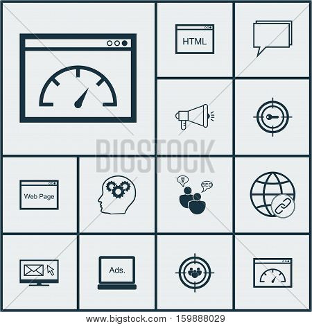 Set Of 12 Marketing Icons. Can Be Used For Web, Mobile, UI And Infographic Design. Includes Elements Such As Page, Performance, Keyword And More.