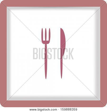 Flat icon. Fork and knife. Dinner.