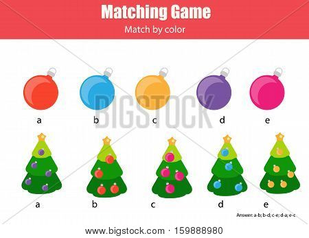 Matching pairs game for kids. Match by color Find the right ball for each Christmas tree children educational game. New Year holidays theme