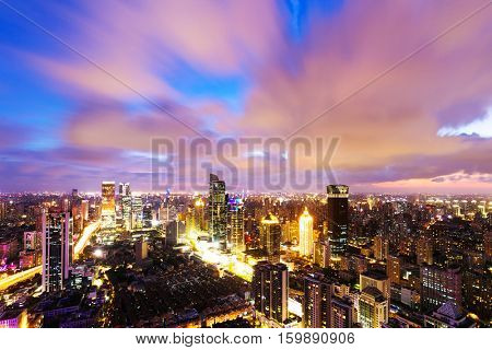 modern office buildings in shanghai at sunrise