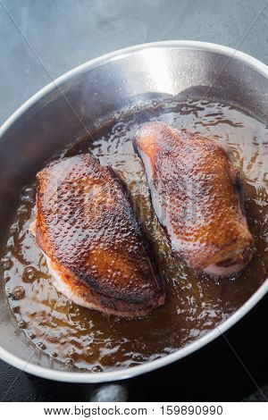 Duck Fillet On Grille Pan. Poultry Meat Prepared On A Grill. Fresh, Delicious, Spicy Dish On A Kitch