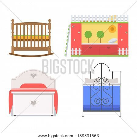 Vector bed icon set.