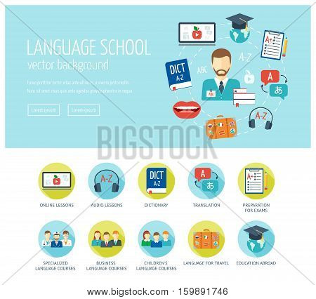 Foreign language learning web design concept for website and landing page. Foreign language school and courses. Web banner. Flat design. Vector illustration