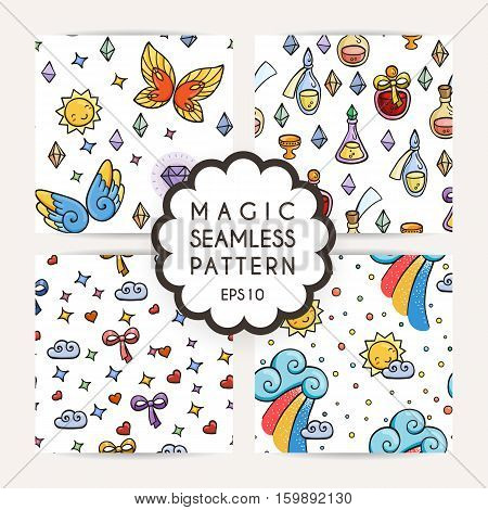 Set of simple seamless patterns with hand drawn elements: stars, dots, gems, comets, clouds, rainbow, butterfly, potions.