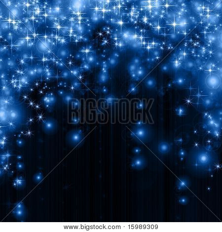 stars descending on blue background