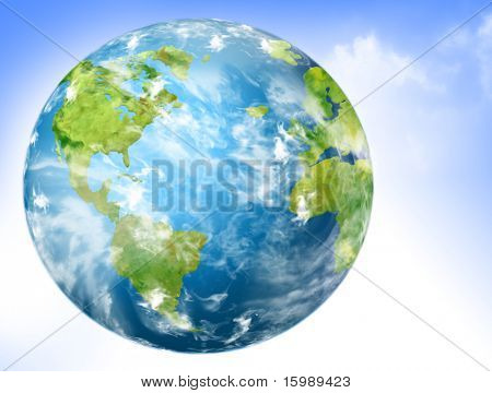 Earth with continents covered with grass