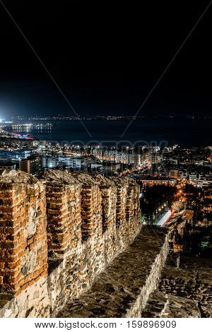 City Lights of Thessaloniki Panoramic View from Trigoniou Tower Long exposure