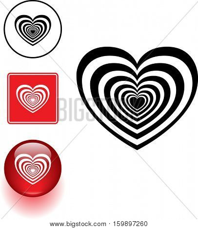 psycho heart symbol sign and button