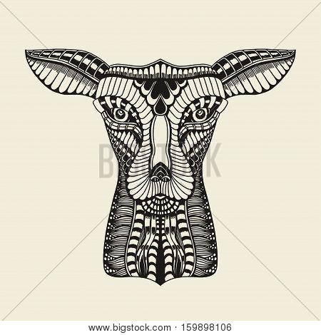 Vector illustration of deer head in zentangle style on a beige background