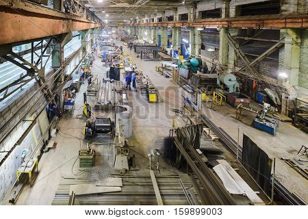 Industrial, workshop for production of handling removable devices. View from the ceiling.