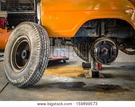 Brakes of Transport car with removed wheel.