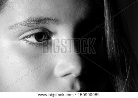 Little girl portrait monochrome black and white