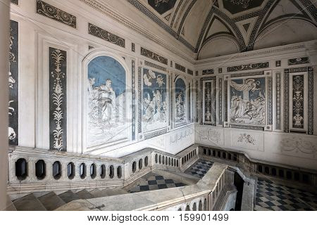 CATANIA ITALY - AUGUST 17 2016: Interior of the Benedictine Monastery of San Nicolo l'Arena in Catania Sicily Italy a jewel of the late Sicilian Baroque style.
