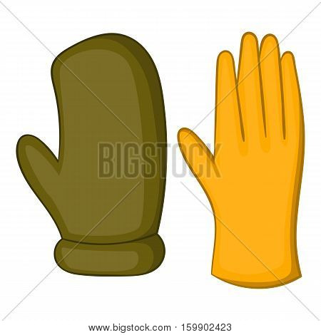 Work gloves icon. Cartoon illustration of work gloves vector icon for web design