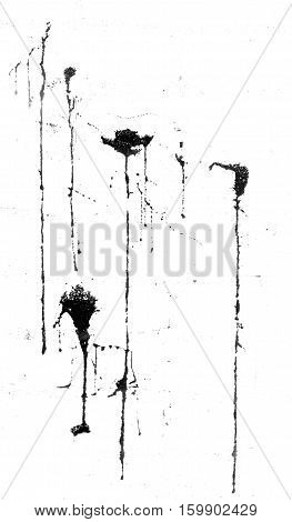 black stains and drips brush grunge texture