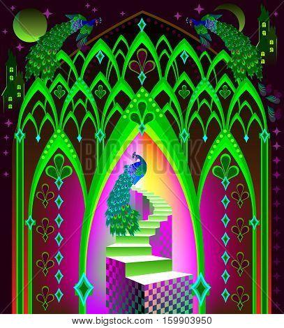 Illustration of fairyland fantasy kingdom, vector cartoon image.