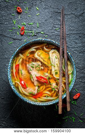 Hot Thai Broth With Beef And Noodle