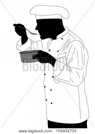 kitchen chef tasting sauce illustration - vector