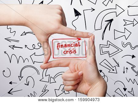Technology, Internet, Business And Marketing. Young Business Woman Writing Word: Financial Crisis