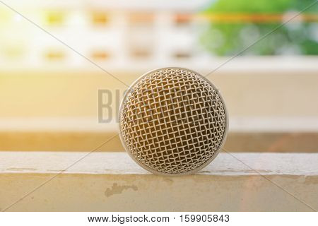 Microphone dynamic Close up Select focus shallow depth of field. with sunset light tone