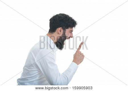 sideview of young man with open mouth. isolated on white background.