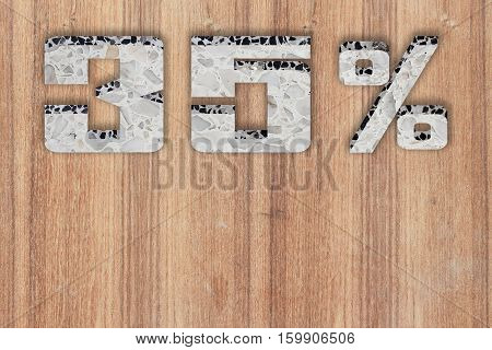 Discount 35 percent off. 3D illustration on Wooden floor background.(number in polished stone )