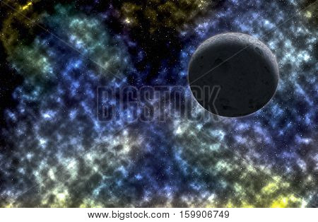 sky and moon light reflex with colorful nebulae in galaxy illustration abstract beautiful for background