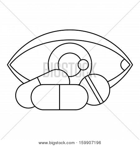 Eye and pills icon. Outline illustration of eye and pills vector icon for web