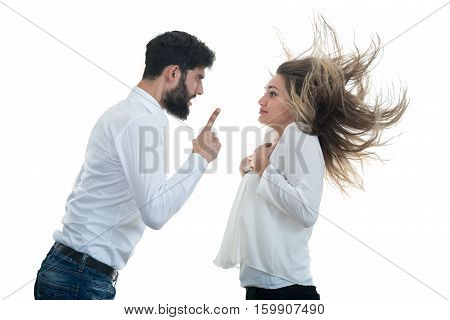 Angry couple shouting at each other on white background.