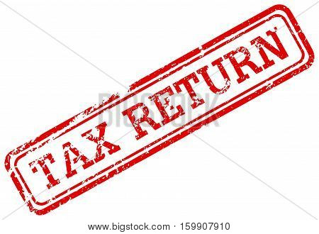 Red rubber stamp tax return grunge stamp isolated on white background
