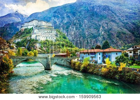 Castles of Valle d'Aosta, Bard fortress,Italy . artistc picture