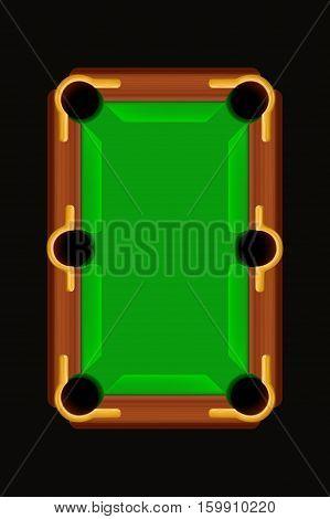 illustration of wooden billiard table on dark background